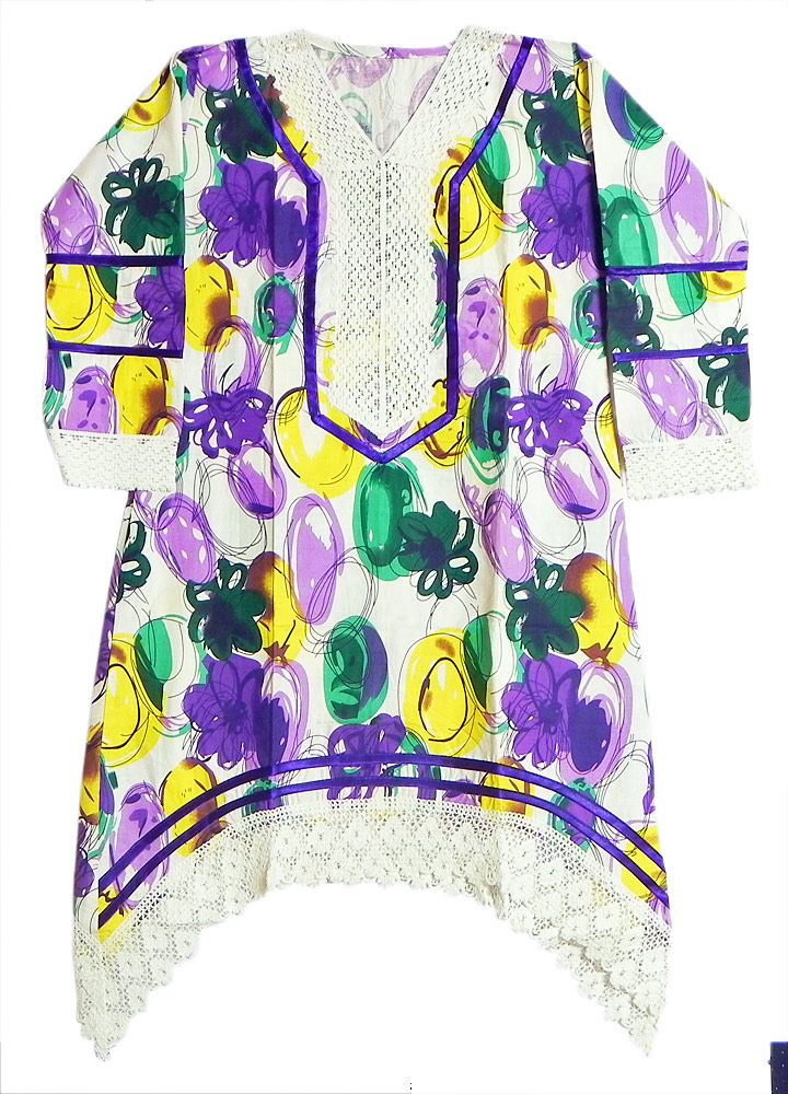 Multicolor+Print+on+White+Top+with+Net+on+Border+and+Sleeves+(Cotton)