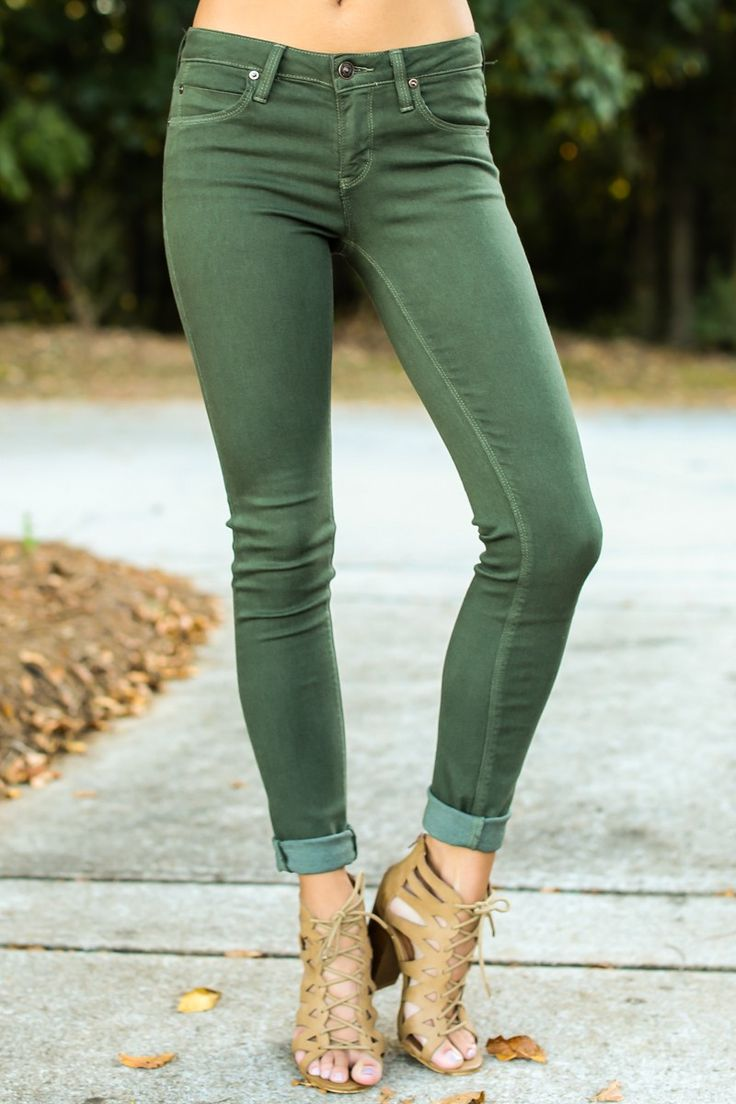 Stand Tall Olive Green Skinny Jeans at reddressboutique.com