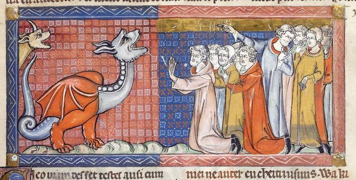 Detail of a miniature of men worshipping a dragon and the beast of the Apocalypse, from an Apocalypse with commentary in French prose, England (London?), c. 1325 – 1330, Additional MS 38842, f. 5r
