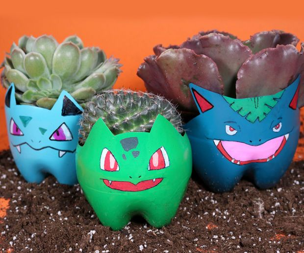 Cute Pokemon planters made out of old 2 liter bottles.