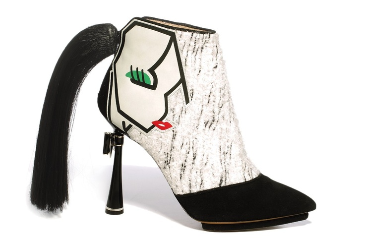 Fall 2012 Accessories Trend: Ceci N'Est Pas Une Bouche  (Nicholas Kirkwood's wool, suede, leather and plastic shoe.)