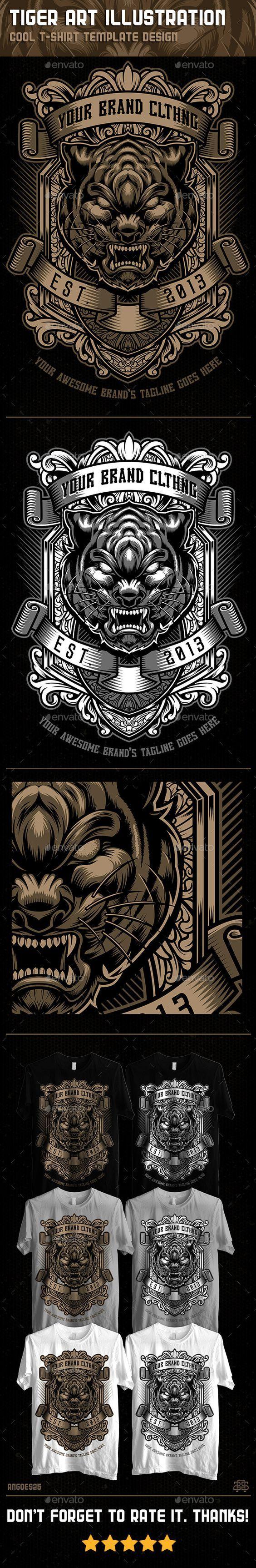 Tiger Art Illustration Tshirt Template #design Download: http://graphicriver.net/item/tiger-art-illustration-tshirt-template-design/11475625?ref=ksioks: