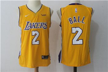 outlet store 51af5 33cd0 Nike Lakers #2 Lonzo Ball Yellow Stitched NBA Jersey | Los ...