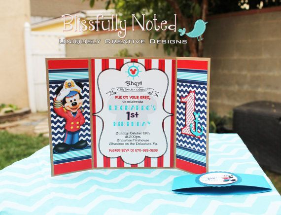 20 Nautical Mickey Mouse Invitation por BlissfullyNoted en Etsy