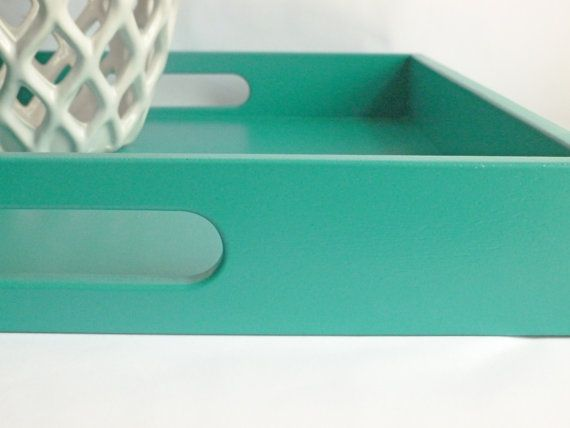 Turquoise Blue 16 X 16 Wood Square Serving Tray Home Decor Accessory Coffee Table Office Organization