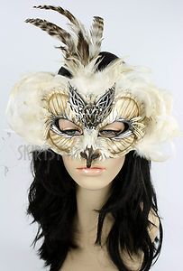 usa made leather mask masquerade owl falcon bird costume warrior nymph men women - Halloween Costumes With A Masquerade Mask