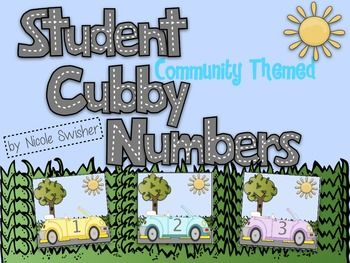 Student Cubby Numbers- Community Themed! These could probably be used as math mats and sequencing cards.