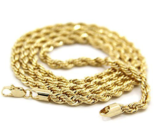 ON SALE AT http://jewelrydealsnow.com/?a=B00XJ1DL8A - Mens 14K Yellow Gold Filled 5mm Rope Chain Necklace
