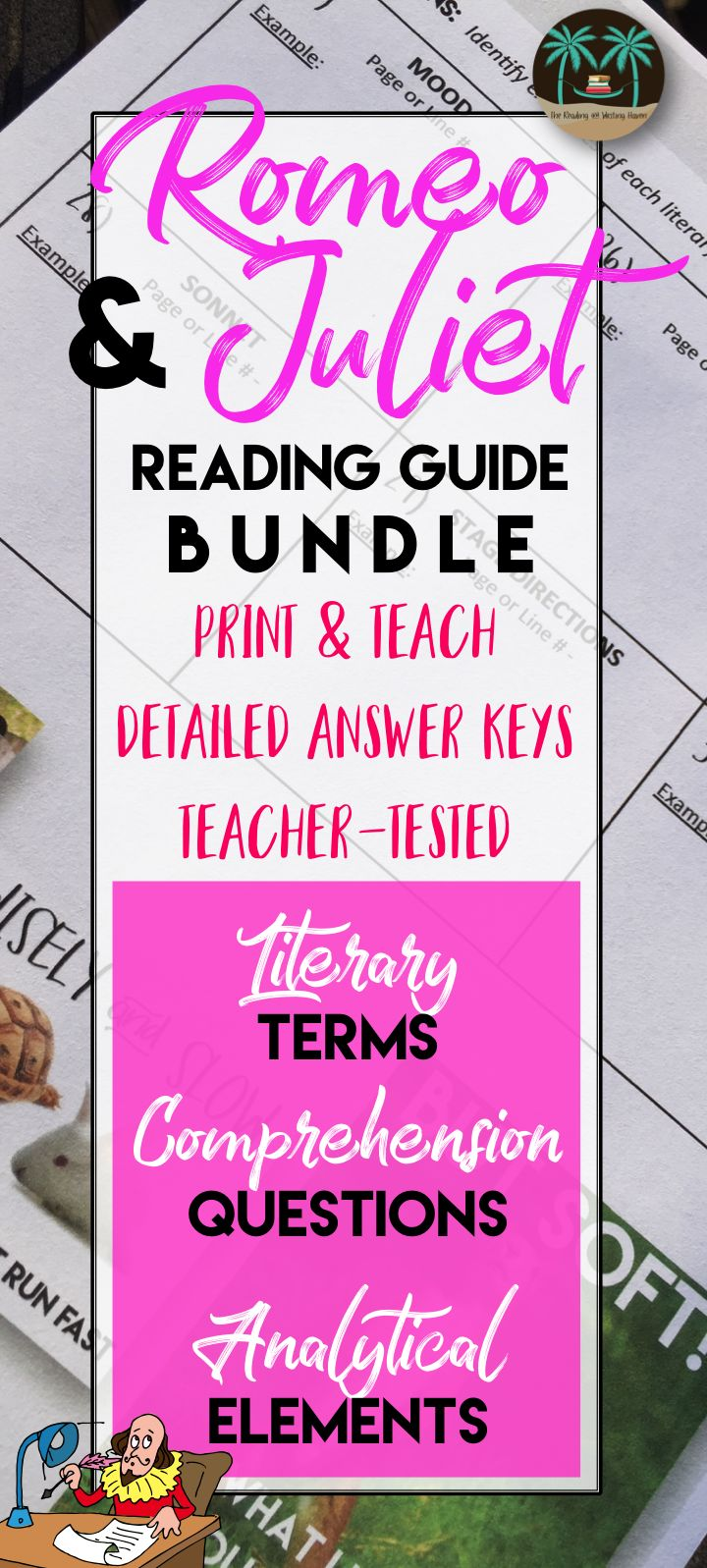 Teaching Shakespeare? This Romeo and Juliet reading guide bundle has everything you need - comprehension, analysis, and literary terms. Complete and answer keys are included. Print and teach!