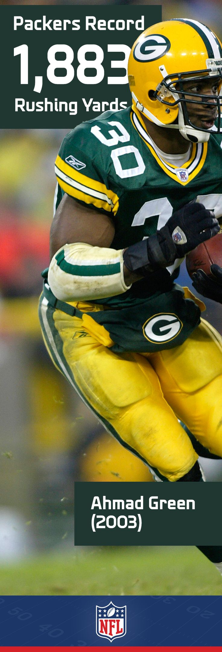 Ahman Green is a Packers great, and for good reason. His 1,883 yards on the ground set a team record in 2003. #NFLFanStyle #contest