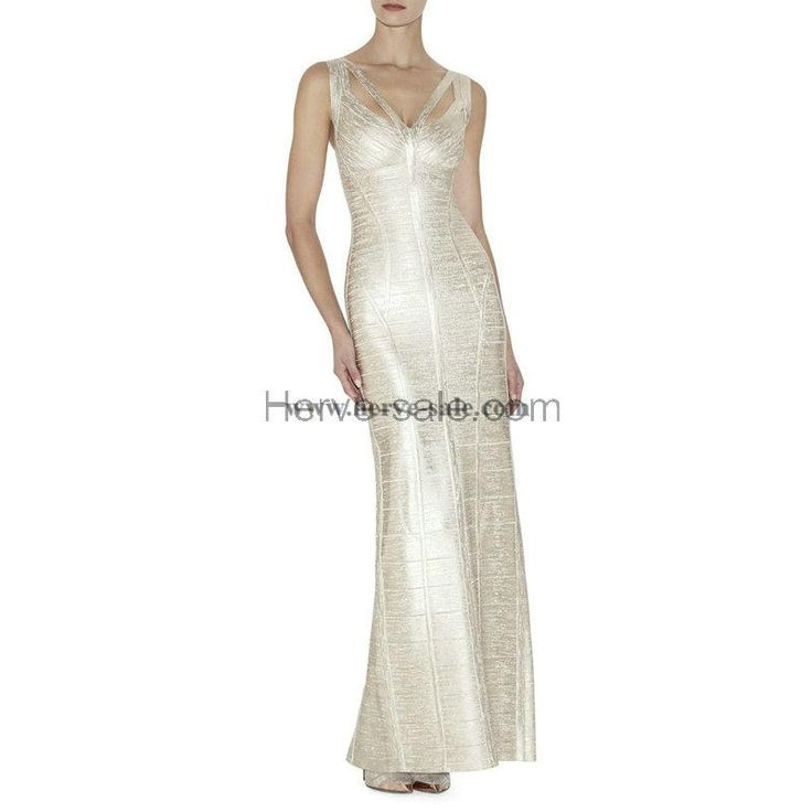 Herve Leger Silver Foil-Print Multi-Straps Bandage Dress HL557S