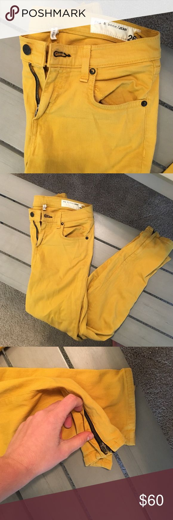 Rag & bone mustard yellow skinny jeans Mustard yellow skinny jeans. Zipper at ankle. Very good condition rag & bone Pants Skinny