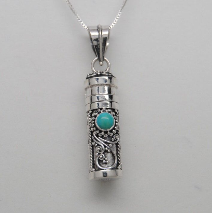 Turquoise and Sterling Silver Cremation Jewelry Urn Necklace Memorial Keepsake Pendant Urn Cylinder Urns for Person or Pet Memorial Urns by QueenCityEclectics on Etsy https://www.etsy.com/listing/450592268/turquoise-and-sterling-silver-cremation
