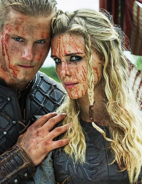 note the hair Alexander Ludwig as Bjorn and Gaia Weiss as Porunn, his shield maiden wife in #Viking #HistoryChannel #TVserie Season 3