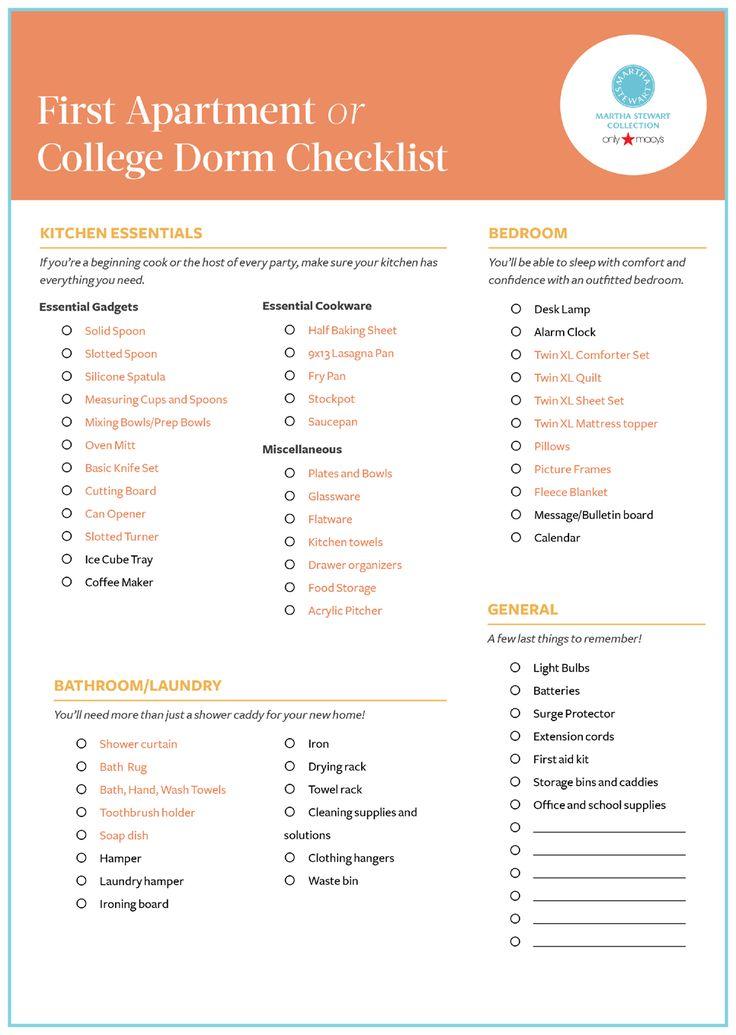 College dorm room list for Apartment design guide part 2