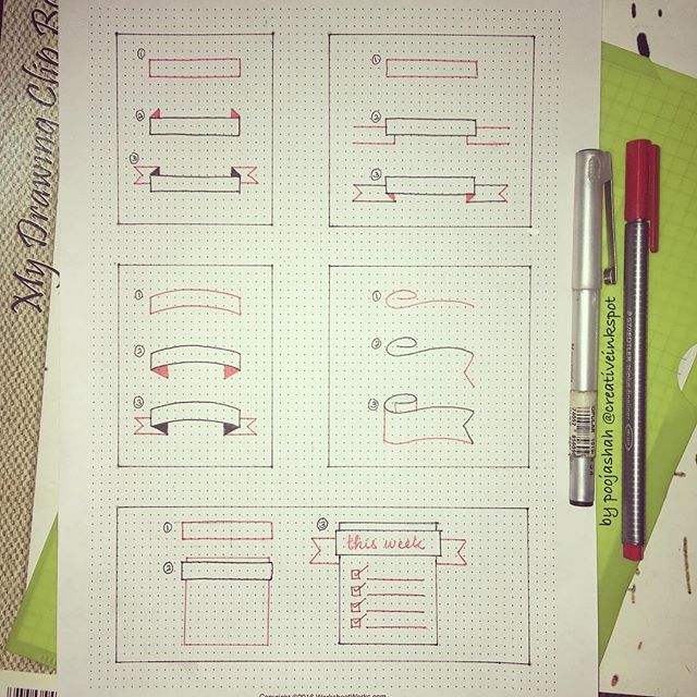 #planwithmechallenge day 19 - unique and useful - Different step by step banner ideas for you weekly and monthly spreads. Going to stick this in my practice bullet journal. I printed a few dot grid papers today. I normally stick them on pages in my bujo that I am really unsatisfied with. Hoping this helps all of you   #bulletjournal #bujo #bujocommunity #showmeyourplanner #planwithme #planning #planner #calender #diary #notebook #organise #erincondren #design #handlettering #drawing…