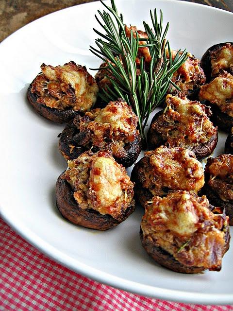 {turkey} Sausage & Asiago Stuffed Mushrooms with Balsamic Glaze.