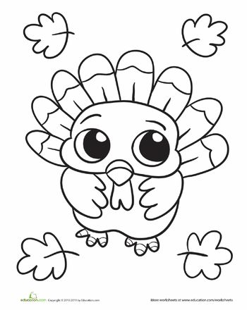 Worksheets: Baby Turkey Coloring Page