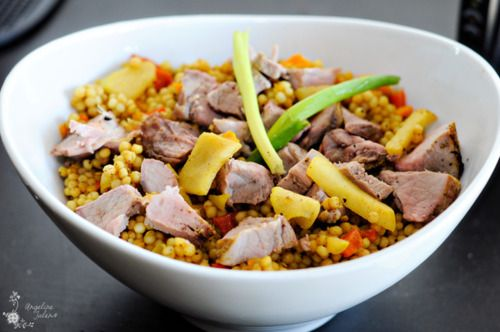 The Epicurean Bodybuilder • Curried Pork with Apple Cous Cous Salad