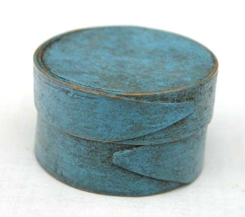 """Rare 2"""" round miniature pantry box in blue paint"""