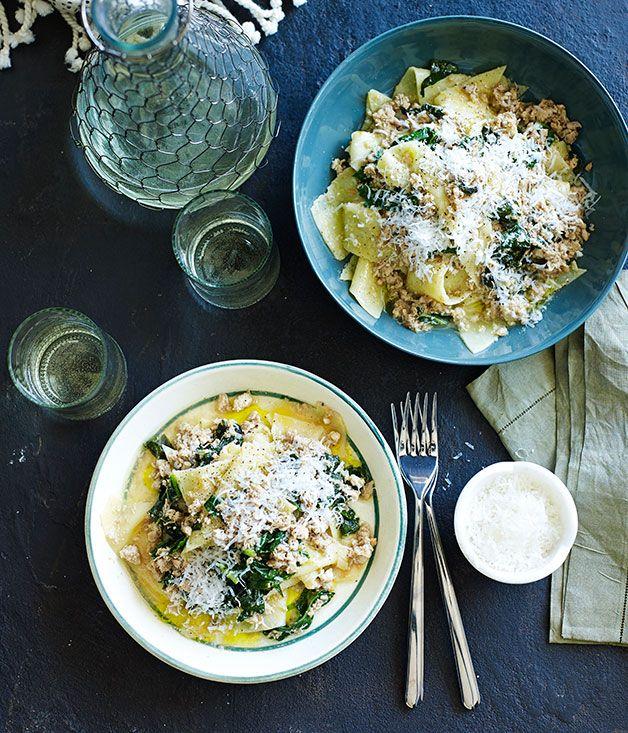 Chicken and clove ragu with polenta pasta