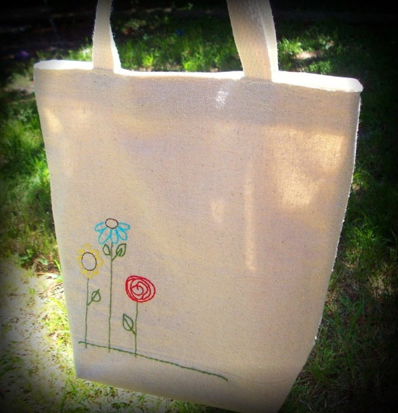 Reusable Bag - Lunch Tote - Lined - Hand Embroidered Flowers. $18,00, via Etsy.