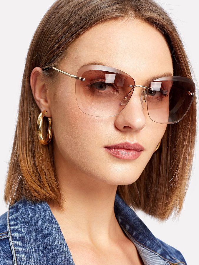 d7bd7a6c03 Shein Rimless Tinted Lens Sunglasses