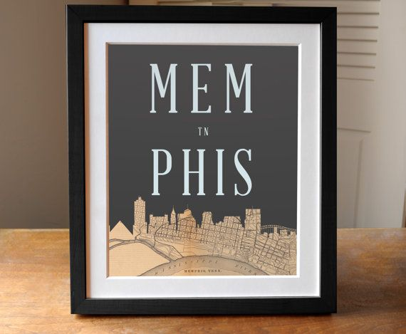 Memphis Map Skyline Print Tennessee Print Memphis by AGierDesign