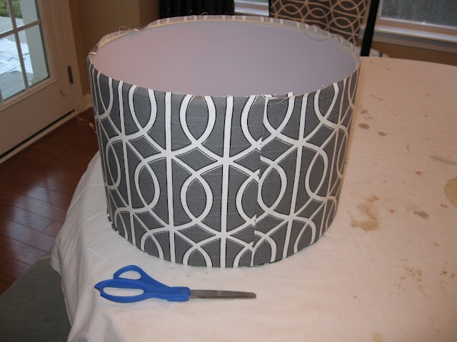 Recovering a lampshade. Why didn't I think of this when we spent forever searching for lampshades?!