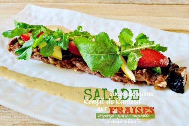 Salade fraise - Salade sucré-salé au confit de canard et fraises