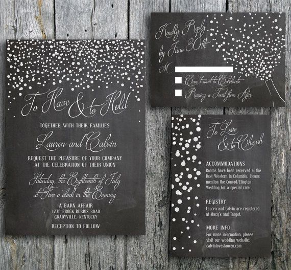 chalkboard wedding invitation designed with confetti and a popped champagne bottle in celebration of love - Chalkboard Wedding Invitations