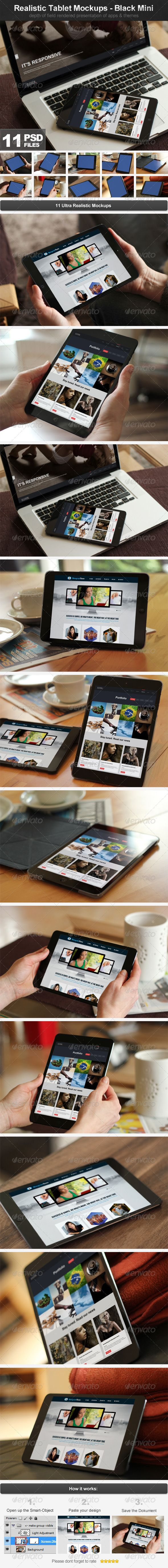 Realistic Tablet Mockups - Black Mini - Mobile Displays