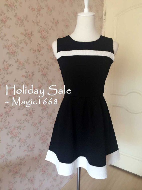 LITTLE BLACK DRESS Fashion Black and White Dress Audrey Hepburn Dress Short Mini Dress Tea Dress Aline Dress Homecoming Holiday Women Dress #etsy #dress https://www.etsy.com/listing/203585313/little-black-dress-fashion-black-and?ref=shop_home_active_18
