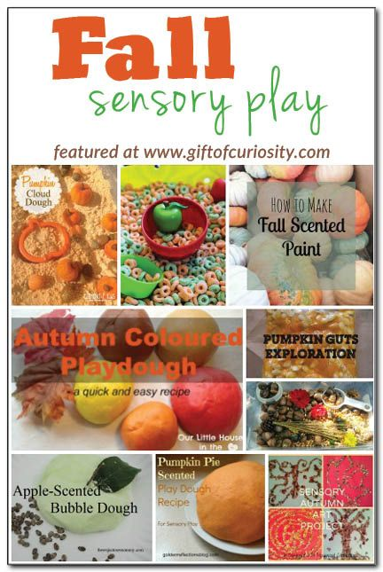 Fall sensory play ideas from the Weekly Kids' Co-op {Tried the apple bubble dough and pumpkin play dough and they were a great success!}