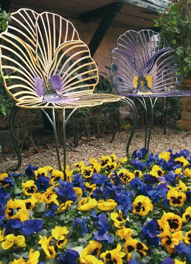 Pansy Flower Chairs In A Pansy Flower Garden Pansy Garden Pansies Flowers Dream Garden
