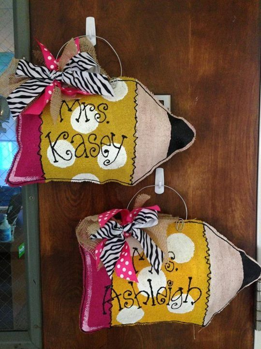 Medium size pencil burlap hangers