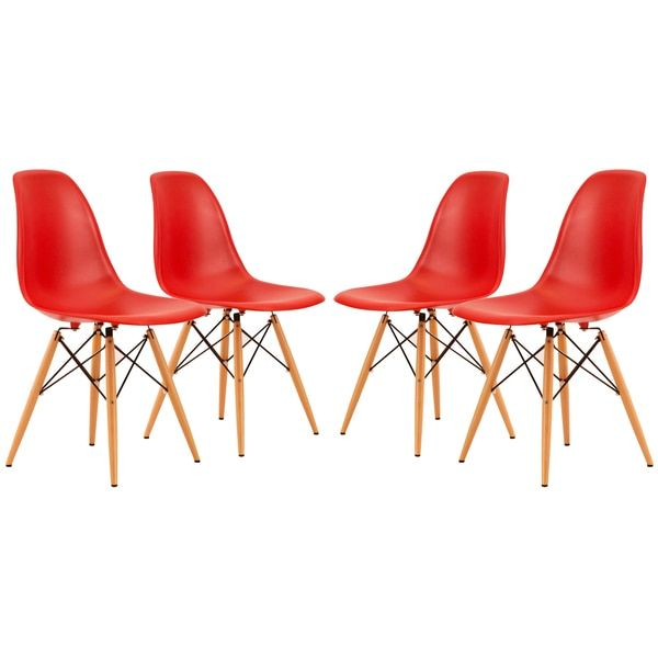 LeisureMod Dover Red Dining Chair (Set of 4)
