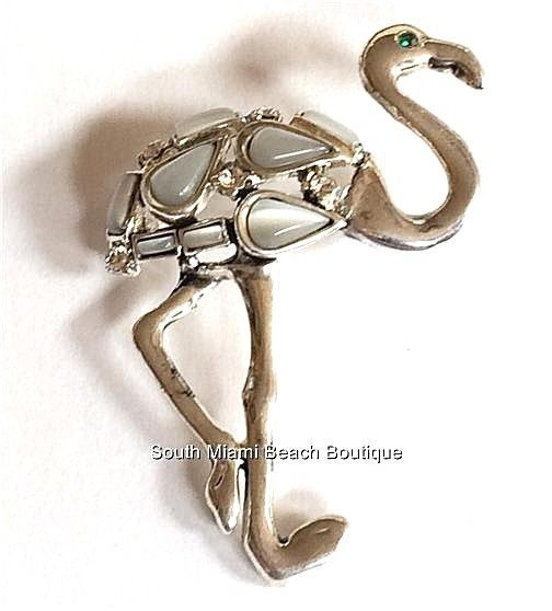 Silver Flamingo Pin Brooch Plated White Cats Eye Stone Crystal Beach Island Bird #SouthMiamiBeachBoutique