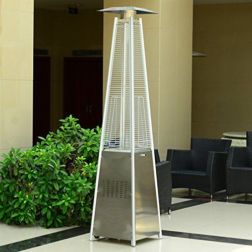 Outsunny 842-031 13 kW Stainless Steel Outdoor Garden Patio Pyramid Heating Propane Gas Real Flame Heater Warmer Glass Tube with Wheels and Rain Cover - Silver
