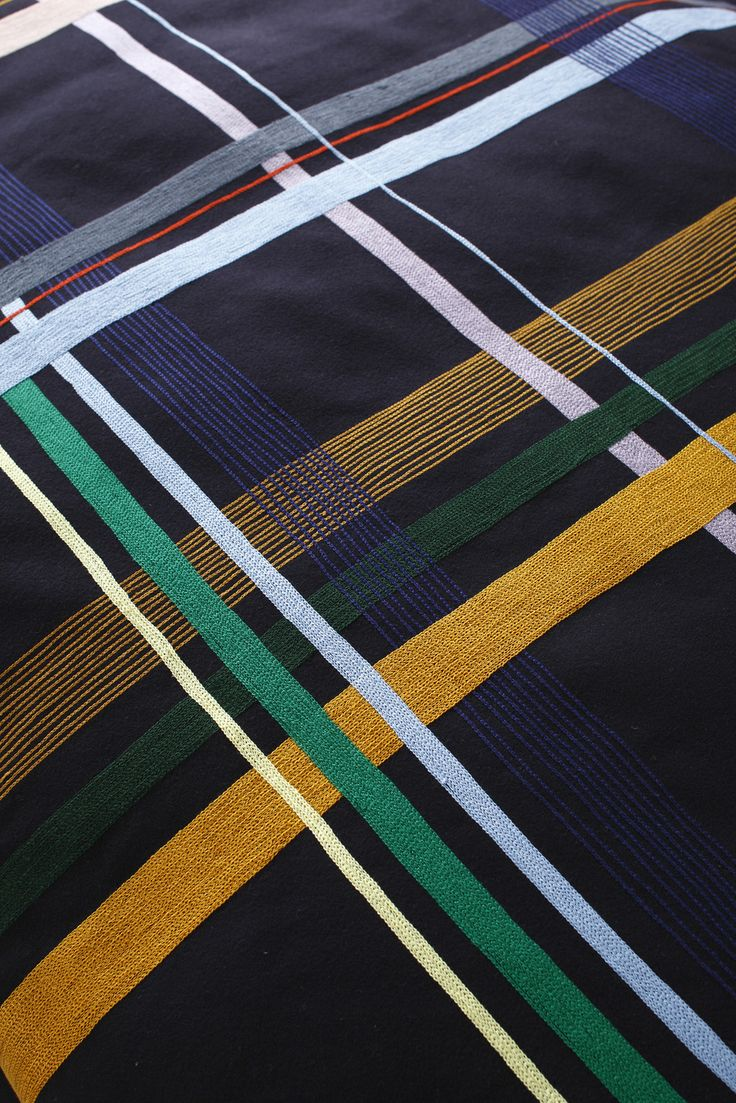 Christelle LE DEAN design textile collection AN AVEL/ tartan brodé par  LE MINOR