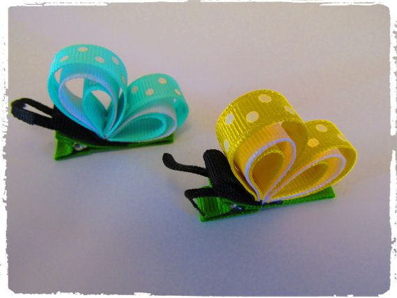 Butterfly hairbow ribbon sculpture by Waratte on Etsy
