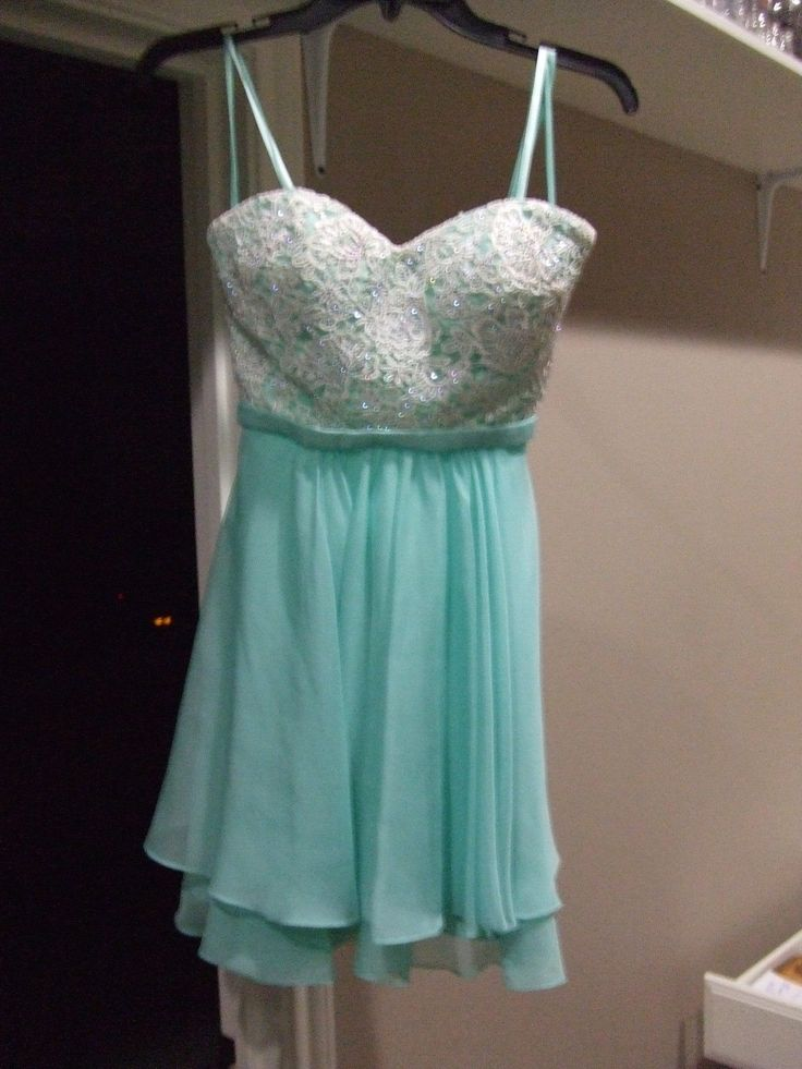 """Cool Amazing HOMECOMING / PROM ? """"SEMI-FORMAL""""  short """"AQUA"""" colored STRAPLESS dress SIZE *0* 2018 Check more at http://24store.cf/fashion/amazing-homecoming-prom-semi-formal-short-aqua-colored-strapless-dress-size-0-2018/"""