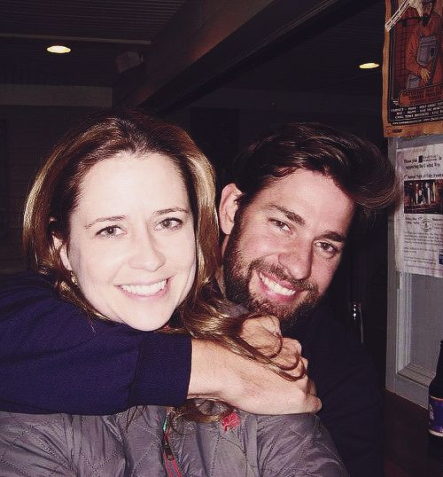 John Krasinski and Jenna Fischer  At thr Backyard Ale House in Scranton, Pa.  After the big weap party om Montage Mountain the casr tended some bar.  John and Jenna thrilled people with their their apparent close relationship, big hugd, John dipped Jenna at one point and was very protective of her.  I'd LOVE a friend like than!