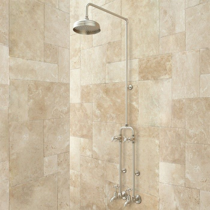 kalama exposed pipe shower set with rainfall showerhead and dual tub fillers 12 - Regendusche Set