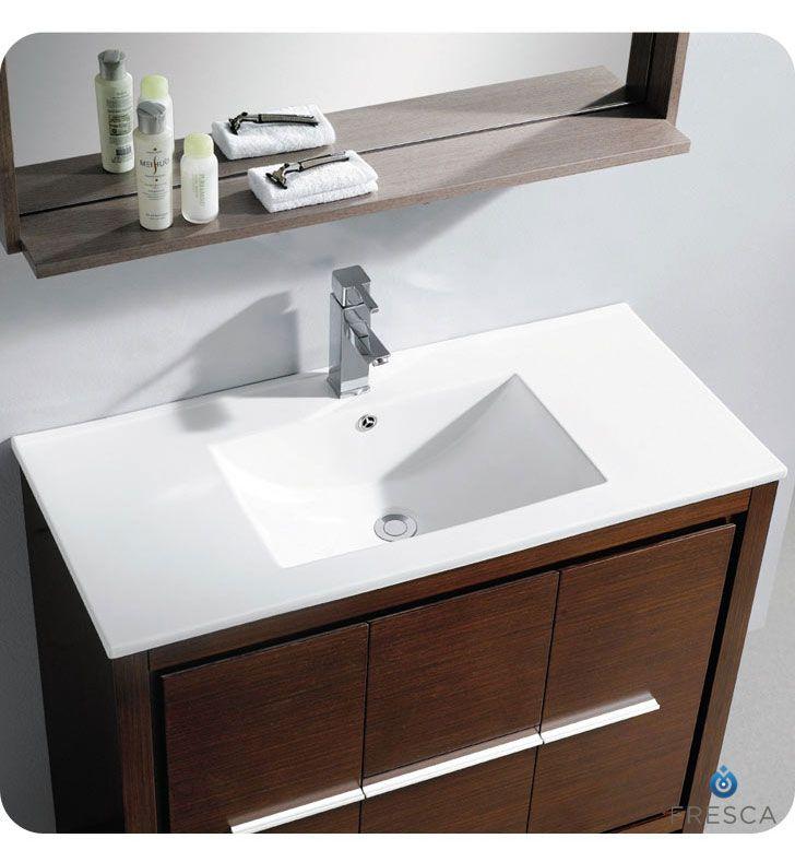Fresca Allier 40 Wenge Brown Modern Bathroom Vanity w/ Mirror & Faucet