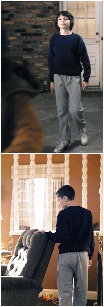 eleven wearing mike's clothes I didn't catch this the first time!