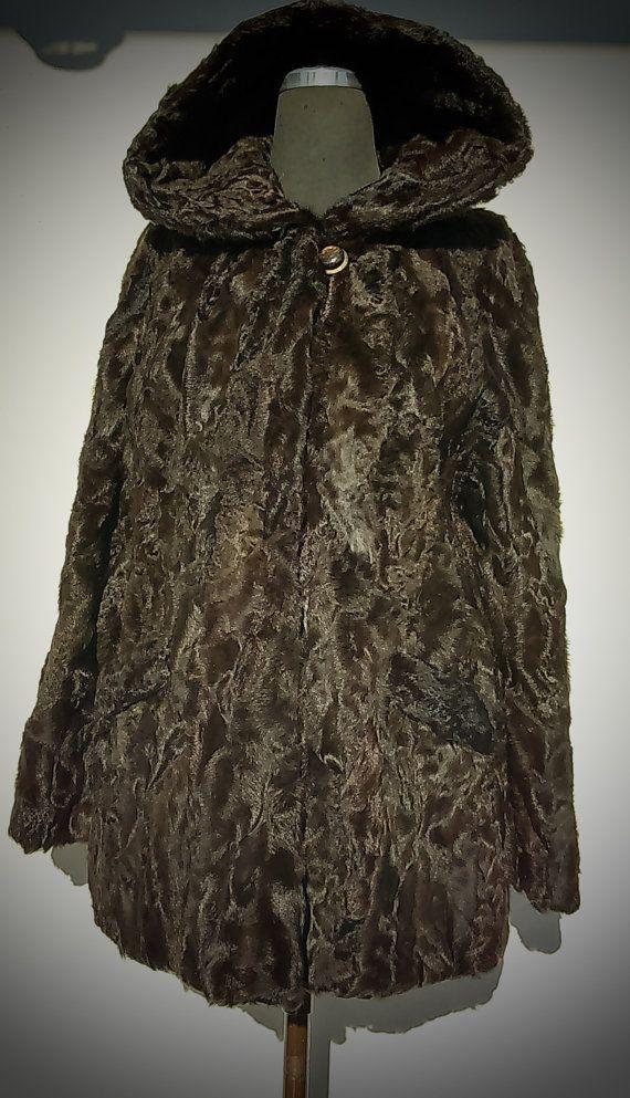 Fur coat/ Real fur/ Karakul fur/ Brown or black color