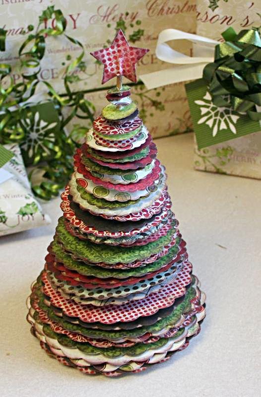 Cute scrapbook paper Christmas tree.