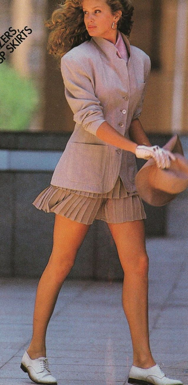 Pleated mini skirts !! 1988 US Elle June'. Model Rachel Hunter. Photo Gilles Bensimon