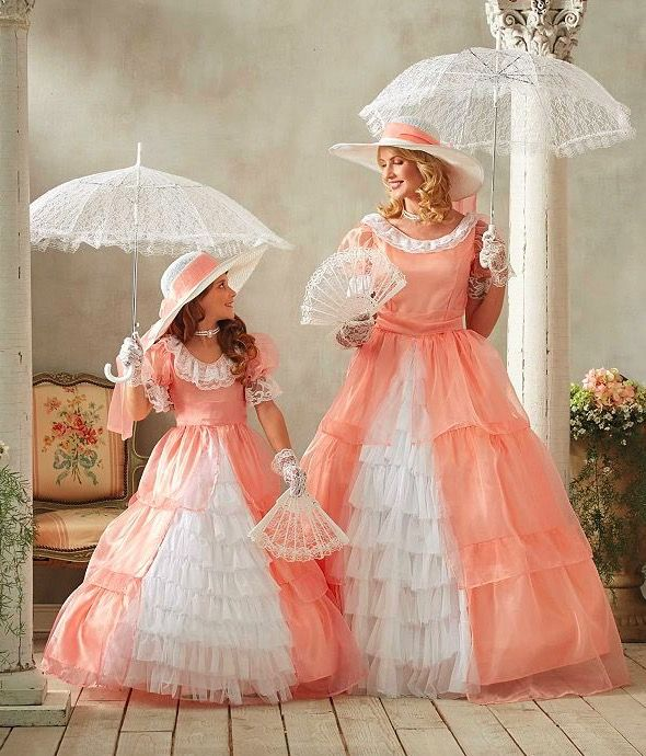 Mother & Daughter Matching Peachy Southern Belle Costume